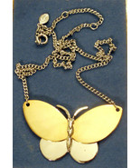 Avon BUTTERFLY Necklace Silver & Gold Tone Motif on Adjustable Chain VTG - $19.75