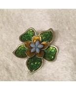 Liz Claiborne Green & Purple Flower Pin - $9.49
