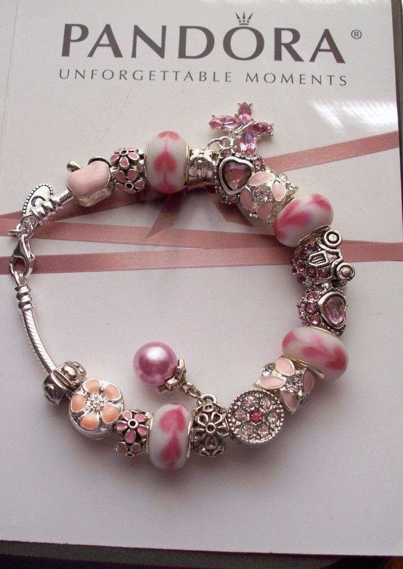 Authentic Pandora Sterling Silver Bracelet with Heart Pink European  charms