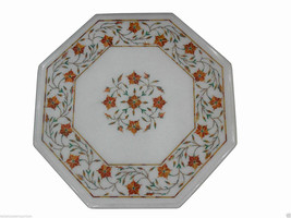 1'x1' Marble Center Table Top Hakik Gemstone Mosaic Floral Marquetry Fur... - $552.10