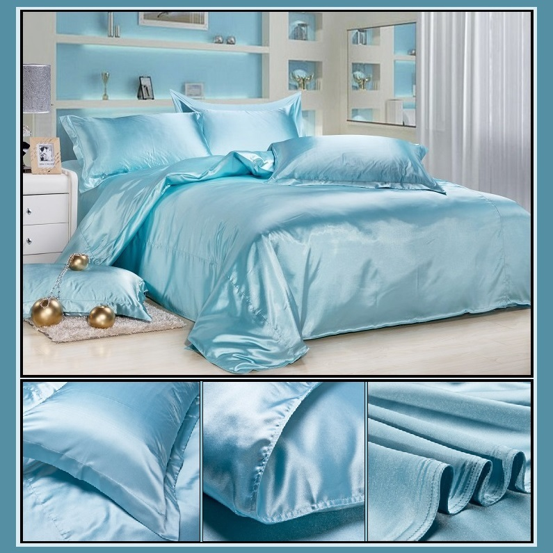 Luxury Ice Blue Mulberry Silk Satin Top Sheet Duvet w/ 2 Pillow Cases 4 Pc Set