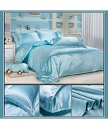 Luxury Ice Blue Mulberry Silk Satin Top Sheet Duvet w/ 2 Pillow Cases 4 ... - $44.95+
