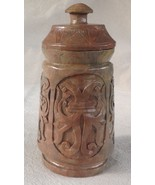 Vintage Asian Tea Caddy or Lidded Jar, Hardstone w. Carved Relief decora... - $33.15