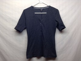 Nicole Miller Black Short Sleeve Button Up Collared POLO Style Top Sz S