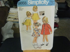 Simplicity 8668 Toddler Girl's Coat & Dress Pattern - Size 1 Chest 20 - $7.56