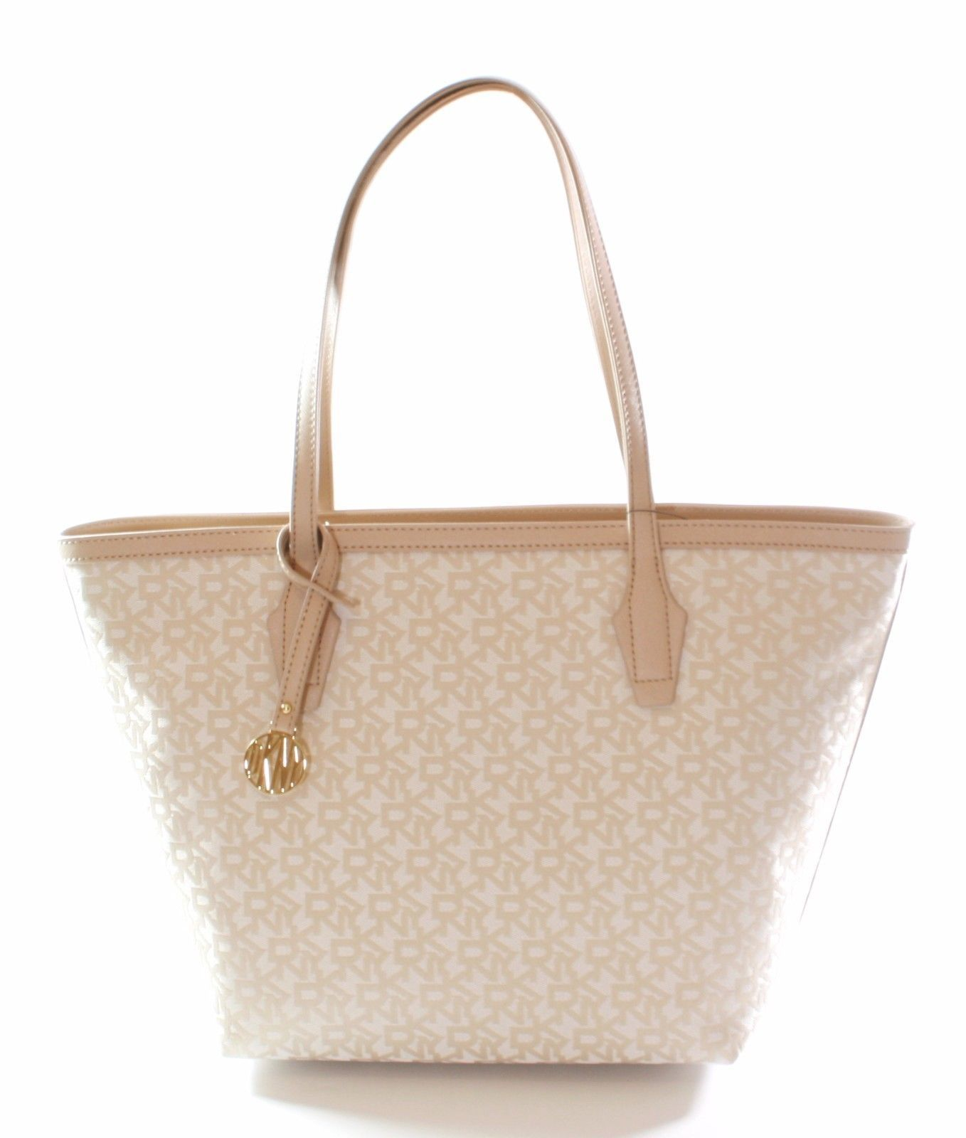DKNY Donna Karan Heritage Canvas Beige Shopper Tote Bag Medium Handbag
