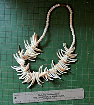 vintage super chunky shell collar necklace off white salmon peach spiky - €44,05 EUR