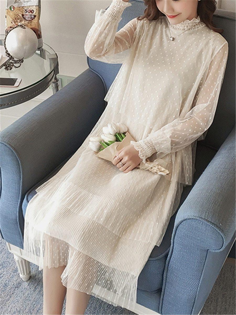 Maternity Dress Long Sleeve Fashionable Layered Dress image 6