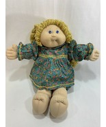 Vtg 1985 Cabbage Patch Kids Girl Doll Gold Blonde Hair w/Dress Outfit Tooth - $24.74