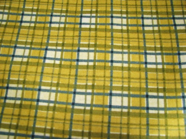 WillowBerry Lane & Maywood Fabrc #2125 Slate Gold White Plaid 1 yd