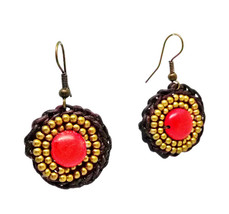 Red Hook Dangle Earrings Stone& Beads& Rope& Brass - $5.94