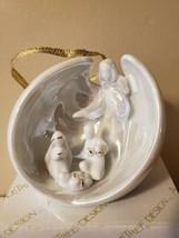 Appletree Design White Porcelain Angel Nativity Gold Trim Nativity Origi... - $19.79