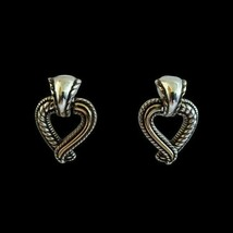 Vintage Brighton Silver Plated Heart Drop Dangle Earrings Gold Tone Signed - $29.69