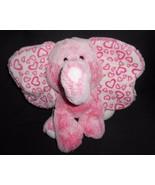 "Aurora Pink Elephant Plush Stuffed Animal Big Ears Hearts White Frosted 11"" - $16.81"