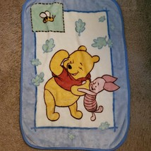 Disney Plush Pooh & Piglet w Blue Leaves & Hunny Bee Baby Boy Plush Blan... - $59.39