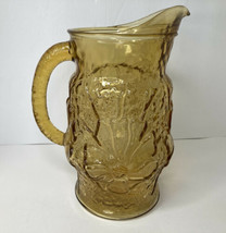 Vintage Amber Crinkle Glass Pitcher Anchor Hocking Rain Flower Design - $24.74