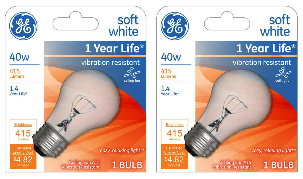 Lot 2 GE 99420 A15 Incandescent A-Line Ceiling Fan Bulb Crystal Clear 355 Lumens