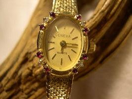 "L07, GENEVA Ladies Dress Watch, Crystal Surround, 7.5"" Gold Tone Mesh Band - $15.79"