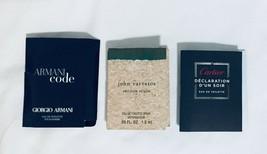 Cartier Declaration, John Varvatos , Armani Code Spray Samples  Card 1 e... - $19.79
