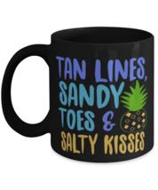Tan Lines, Sandy Toes & Salty Kisses, beach lover summer - 11 oz Classic Black  - $17.99