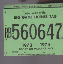 New York State Big Game License Tag 1973-1974 - $14.40
