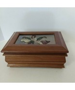 Vintage The Commodore Collection by Rosalco Floral Wooden Glass Jewelry Box - $19.80