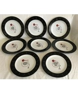 POTTERY BARN RETRO BAR COMPLETE SET OF 8 APPETIZER SALAD PLATES Drink Re... - $36.99