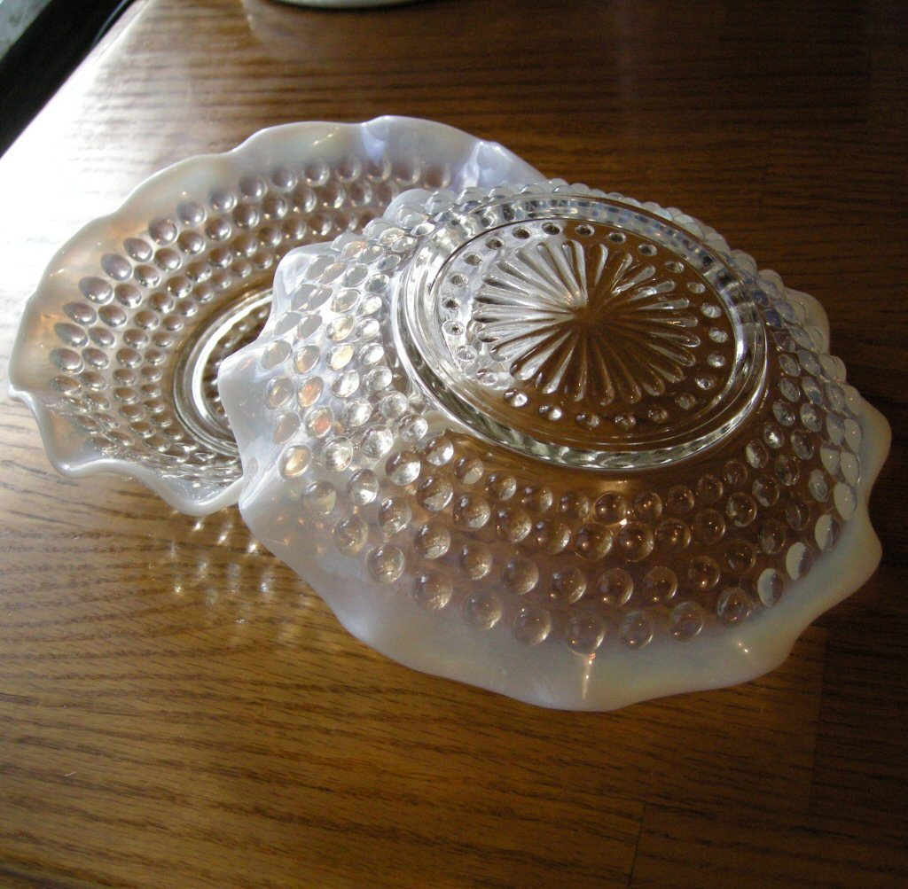 2 Vintage Moonstone Ruffled Berry Dishes