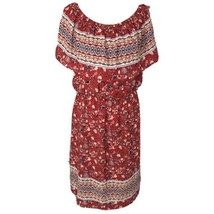 Style & Co Womens Large L Dress Floral Peasant Style Off-Shoulder Red Multi - $27.69