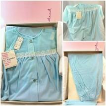 60s Vintage Gilead Pajama Set Top Pant Sz 36 Blue Nylon Deadstock NWT Or... - $86.11