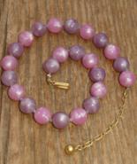 Vintage Crown Trifari Purple Amethyst Lavender Rose Pink Pearly Marble S... - $20.00