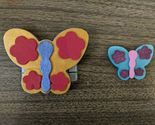 Hand Painted Butterfly Magnets Spring Multiple Colors Small Large Set Of 2 New
