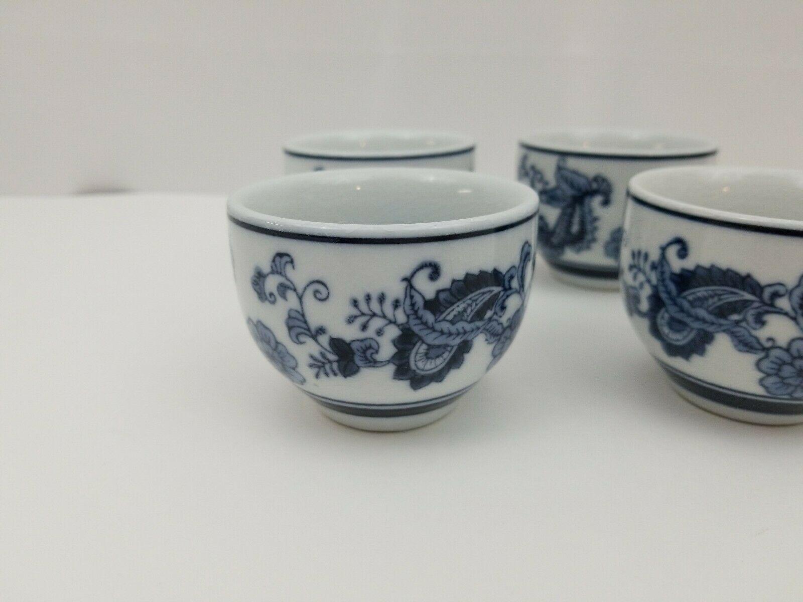 Pier 1 Imports Porcelain Tea Cups Sake Set of 4 White Blue Floral Dish Safe image 4