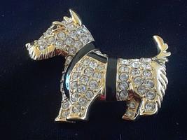 Signed Swan Logo Swarovski Scottie Dog Clear Crystal Black Enamel Brooch - $30.00