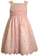 Bonnie Jean Little Girl 2T-6X Pink Sequin Embroidered Mesh Overlay Social Dress
