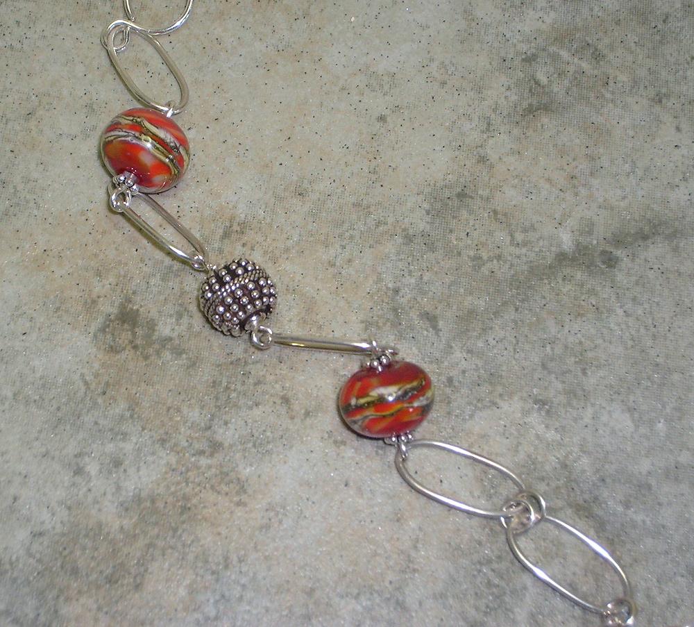 2939 fused silver   red orange lw