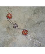Red-Orange, Ivory & Silver Lamp Work Argentium Sterling Silver Bracelet - $42.99