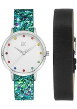 I.N.C. Women's Blue Glitter Black Faux Leather Interchangeable Strap Watch 36mm