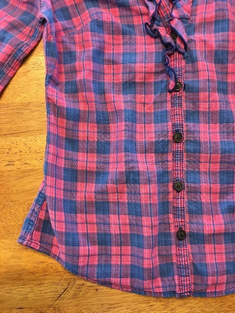 Abercrombie Kids Girl's Blue & Pink Plaid V-Neck Dress Shirt - Medium image 10