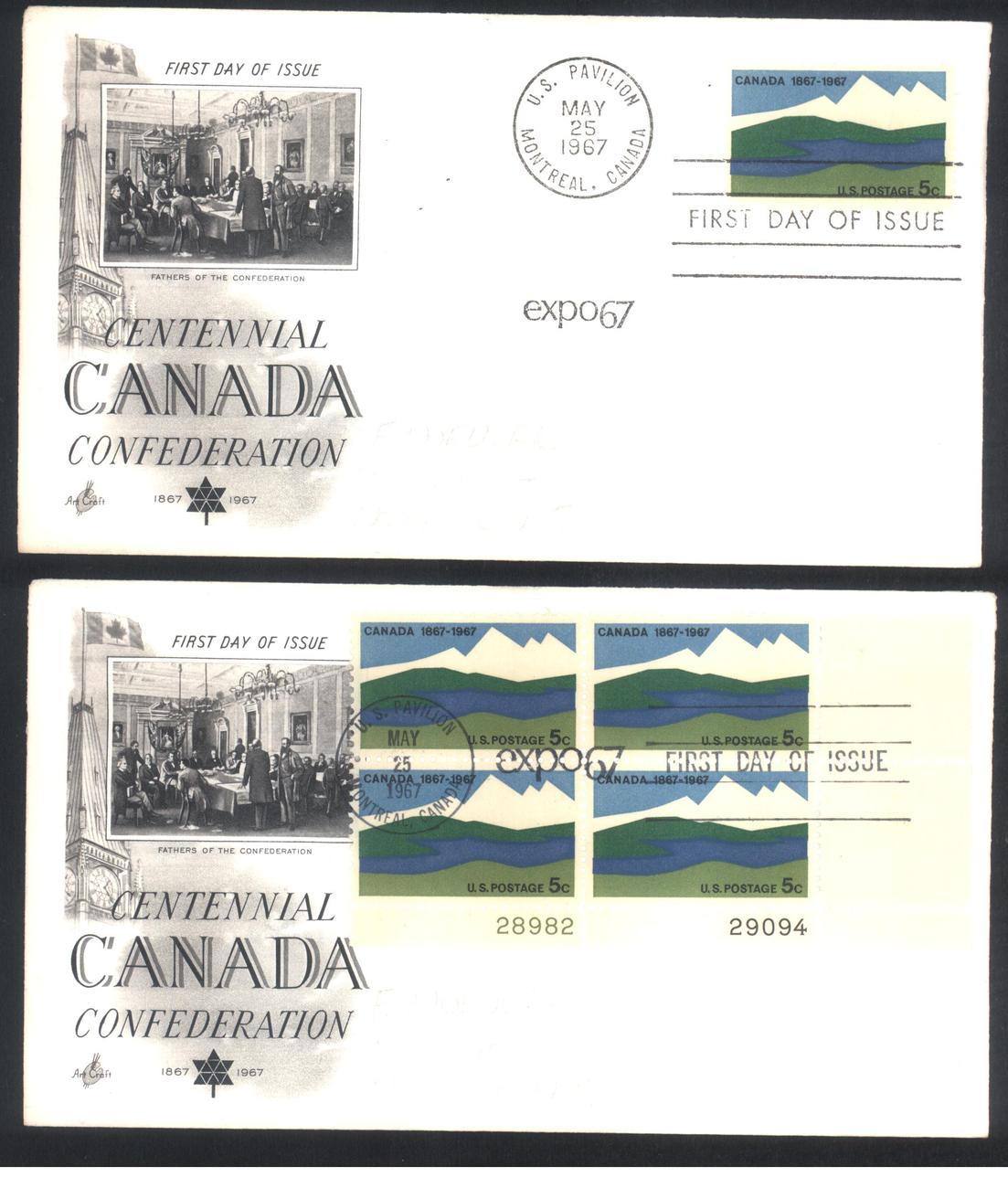 Primary image for Canada Confederation Centennial first day covers Expo 67 single & Plate Block
