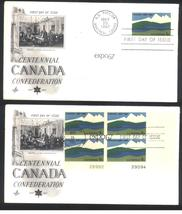 Canada Confederation Centennial first day covers Expo 67 single & Plate Block - $3.99