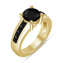 Vintage Inspired Engagement Wedding Ring 1.4 Ct Black Diamond 14k Yellow... - $62.98