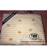 Tastemaker ~ NOS Vtg Floral Twin Fitted Sheet Beige Percale Striped USA ... - $14.30