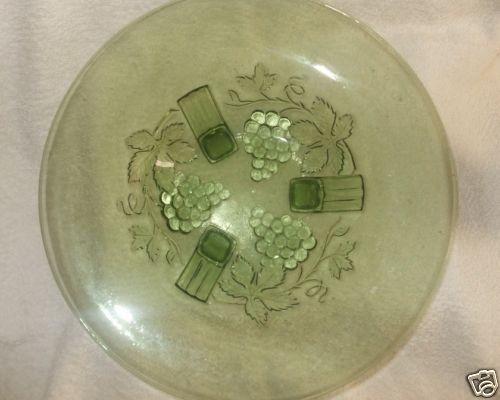 Green Depression Glass Dessert footed serving platter