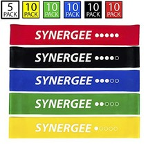 Synergee Mini Band Resistance Band Loop Exercise Bands Set of 5 with Carrying Ba
