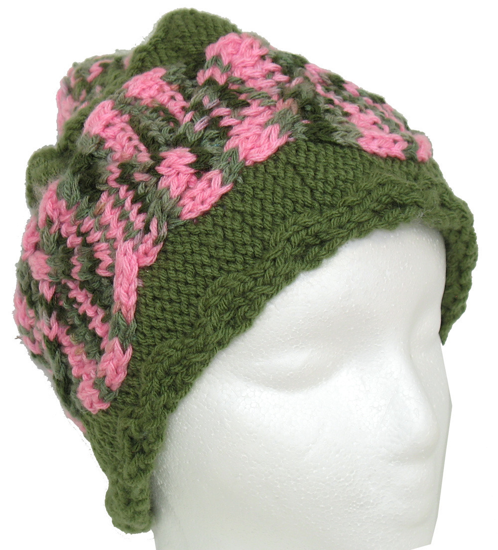 Primary image for Green hand knit hat with pink-green cable