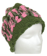 Green hand knit hat with pink-green cable - $28.50
