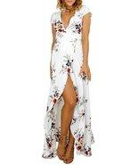 Floral White Slit Short Sleeve Maxi Dress - $27.95