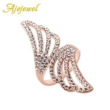 Ajojewel #6-9 New Fashion  Wings Ring Micro Crystal Rose  Color Rings Fo... - $25.93
