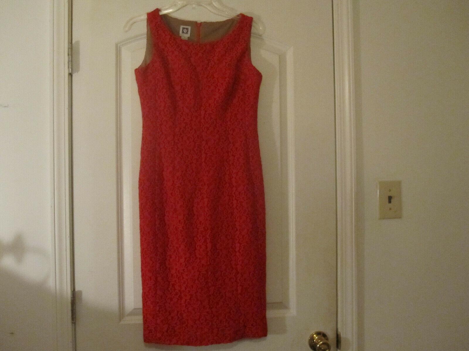 Anne Klein Womens Red Crochet Dress Lined Sleeveless Size 2